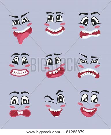Emoji characters cartoon set isolated vector illustration. Happiness, anger, joy, fear, surprise smiley, eyes and mouth, fun comic emoticon. Cute smiley faces with different facial expressions.