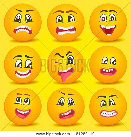 Emoticon cartoon set isolated vector illustration. Happiness, anger, joy, fear, surprise smiley, fun comic yellow faces, emoji characters. Cute smiley faces with different facial expressions.