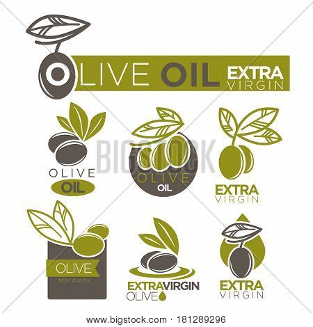Olive oil product logos templates. Extra virgin natural cooking oil vector isolated design of green and black olives for bottle package labels