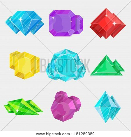 Jewelry colorful gemstone icon set vector illustration isolated on white background. Diamond, sapphire, amethyst, ruby, aquamarine, emerald, beryl. Precious stone, jewel crystal, cut gem collection