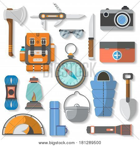 Tourist equipment icon set isolated vector illustration. Backpack, jackknife, ax, first aid kit, camera, knapsack, compass, lantern, flashlight, climbing rope, sleeping bag, tent, thermos, cauldron
