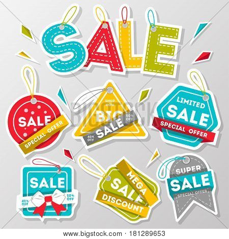 Discount sale advertising sticker set isolated vector illustration. Best price tag, exclusive marketing action, advertisement retail label, big sale, limited offer proposition, special shopping symbol