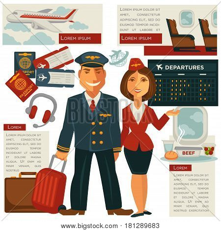 Pilot and stewardess in uniform. Air travel flight and aircraft staff or cabin crew occupation concept. Vector passports and visa, onboard meal, suitcase luggage with tickets and departure schedule