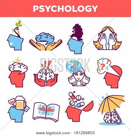 Psychology abstract symbols set. Conceptual signs of human psychological state of mind, love or fear emotions and mental thinking. Vector isolated icons
