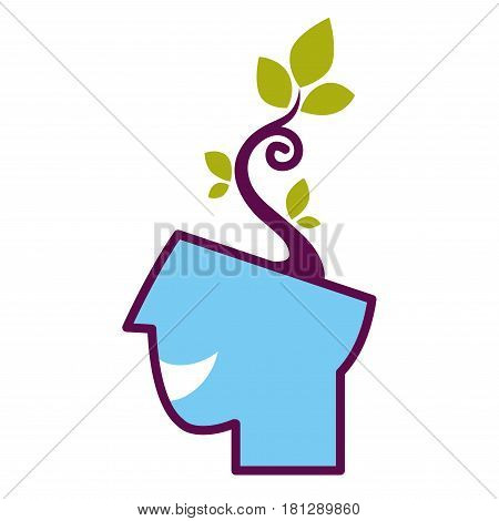 Psychology abstract symbol of human head with growing tree. Conceptual vector flat icon of human psychological state of mind and mental thinking
