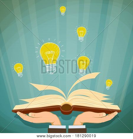 Human hands holding a book. Stock vector illustration.