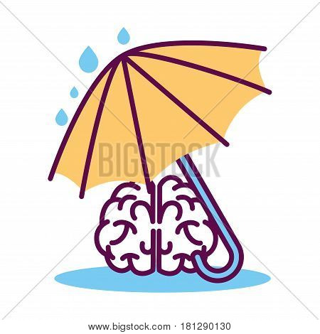Psychology abstract symbol of human brain protected under umbrella. Conceptual vector flat icon of human psychological state of mind and mental thinking