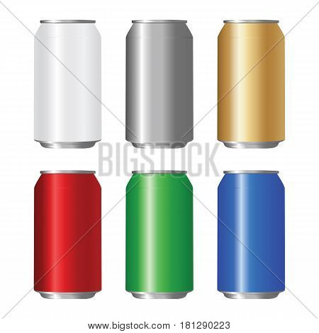 Set of colored aluminum can. Vector illustration.