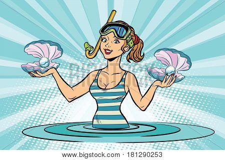 Girl sea diver for pearls. Comic cartoon illustration pop art retro vector