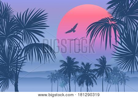 Tropical sunrise with pink gradient sun and silhouette of palm trees, soaring birds and mountains in the background of blue sky