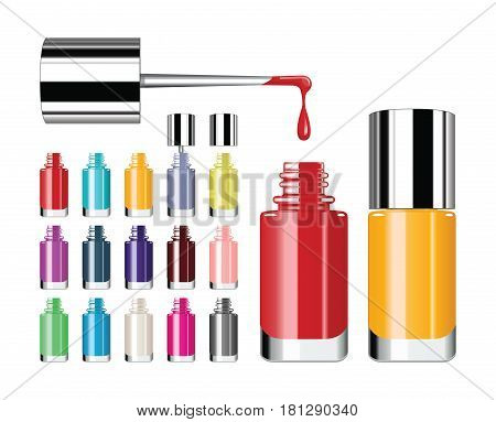 Nail polish. Various colors of nail lacquers contained in transparent bottles. Vector illustration.