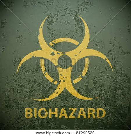 Yellow biohazard symbol on a green military background. Warning of the dangers in the region of epidemic. Stock vector illustration.