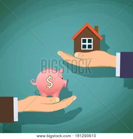 Deal with the real estate. Two men are holding a piggy bank and house. Stock vector illustration.