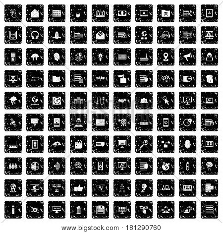 100 cyber security icons set in grunge style isolated vector illustration