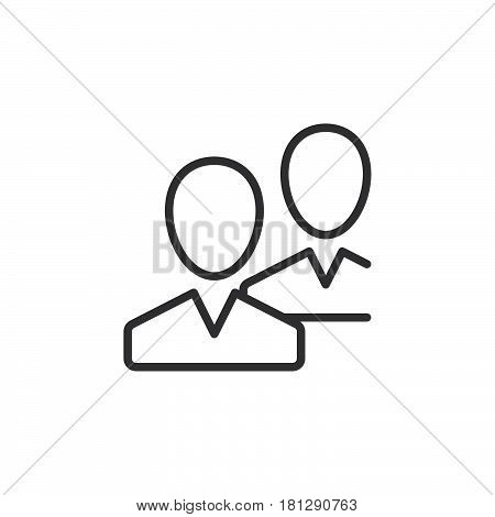 Community users friends line icon outline vector sign linear style pictogram isolated on white. Symbol logo illustration. Editable stroke. Pixel perfect
