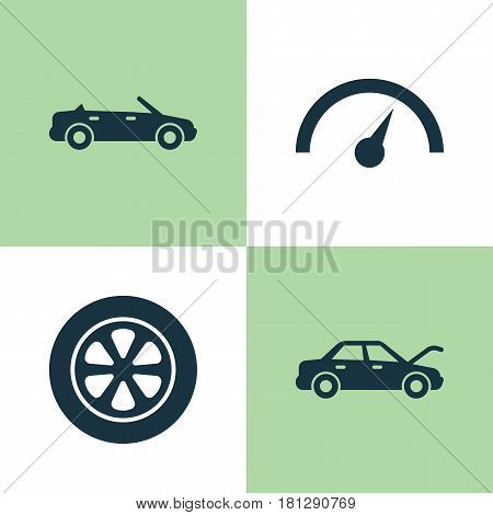 Car Icons Set. Collection Of Fixing, Wheel, Chronometer And Other Elements. Also Includes Symbols Such As Wheel, Chronometer, Speedometer.