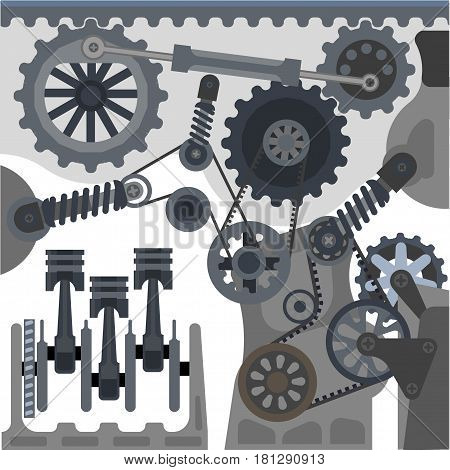 Car engine mechanism and details. Automobile internal combustion motor parts. Vector valve pistons, lever gears and transmission cogwheels