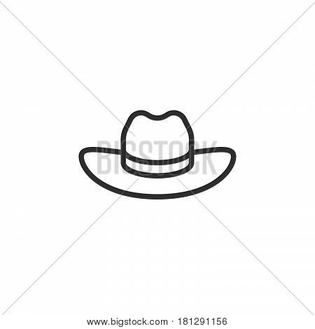 Men's Cowboy Hat line icon outline vector sign linear style pictogram isolated on white. Symbol logo illustration. Editable stroke. Pixel perfect