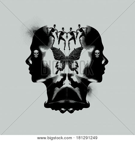 The human mind thinking and emotional abstract illustration with dark ink stains.