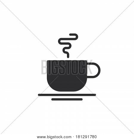 Hot coffee cup icon vector filled flat sign solid pictogram isolated on white. Cafe symbol logo illustration. Pixel perfect