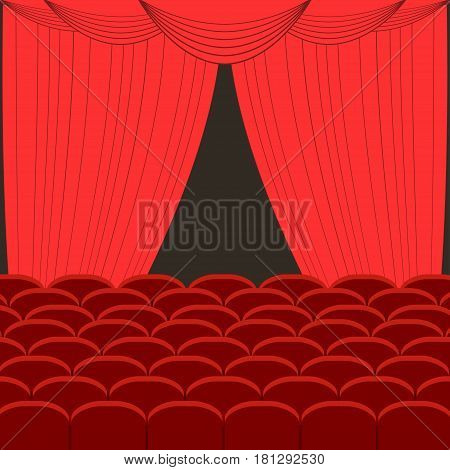 Rows of red cinema theater vector illustration red silk velvet curtains and draperies interior
