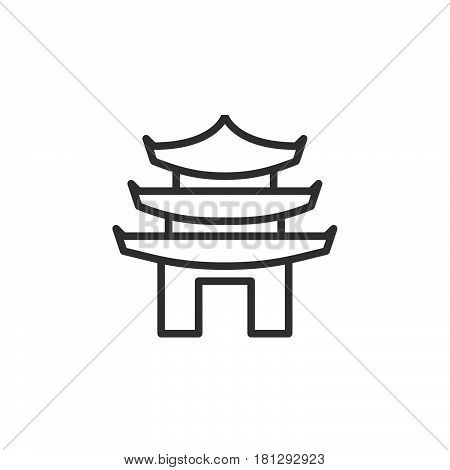 Pagoda line icon outline vector sign linear style pictogram isolated on white. Symbol logo illustration. Editable stroke. Pixel perfect