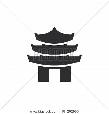 Pagoda tiered tower icon vector filled flat sign solid pictogram isolated on white. Symbol logo illustration. Pixel perfect