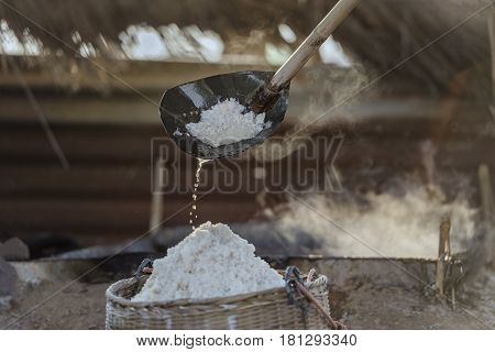 Naklua ThailandSunset salt farming (Naklua)Ancient salt making.