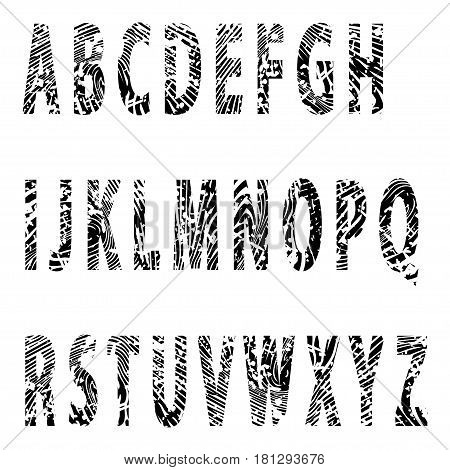 Illustration alphabet fingerprint as embossed letters on a white background.