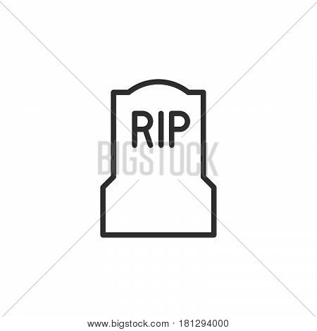 Tomb headstone line icon outline vector sign linear style pictogram isolated on white. Symbol logo illustration. Editable stroke. Pixel perfect