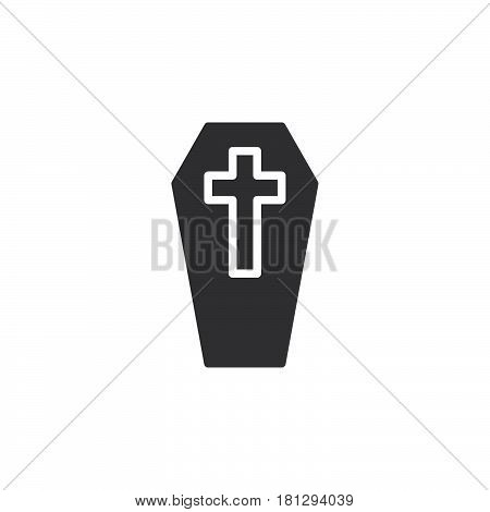 Coffin with cross icon vector filled flat sign solid pictogram isolated on white. Symbol logo illustration. Pixel perfect
