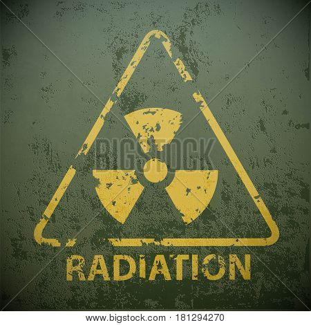 Yellow warning sign for radioactivity. Stock vector illustration.