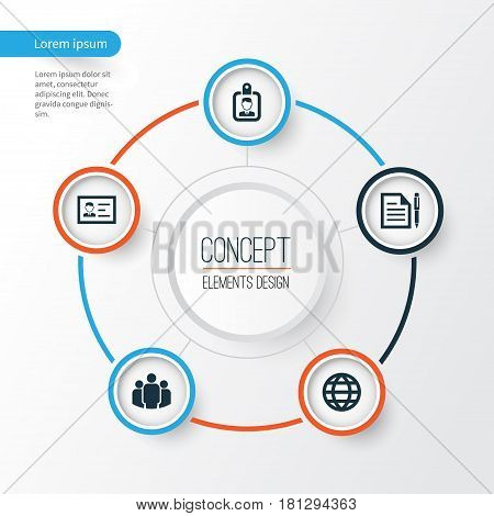 Business Icons Set. Collection Of Group, Contract, Id Badge And Other Elements. Also Includes Symbols Such As Identification, Group, Contract.