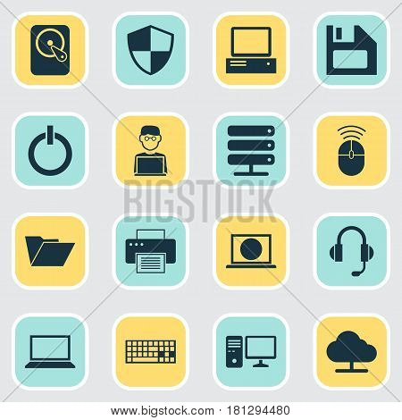 Computer Icons Set. Collection Of Personal Computer, Laptop, Computer Mouse And Other Elements. Also Includes Symbols Such As Server, Floppy, Shield.