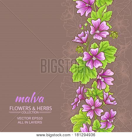 malva flowers vector pattern on color background