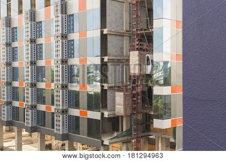 temporary elevators using for construcion of modern building