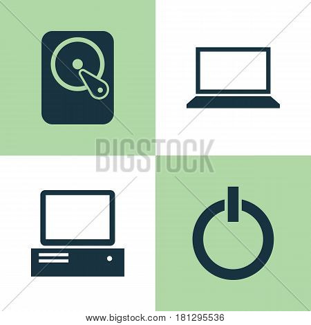 Computer Icons Set. Collection Of Hdd, Laptop, Power On And Other Elements. Also Includes Symbols Such As Laptop, Hard, Computer.