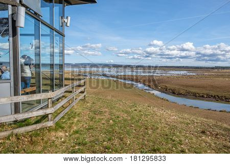 BJURUM, SWEDEN - APRIL 7, 2017: View over Lake Hornborga during bird migration at springtime. During its peak late March - early April up to 20000 cranes can be counted daily.