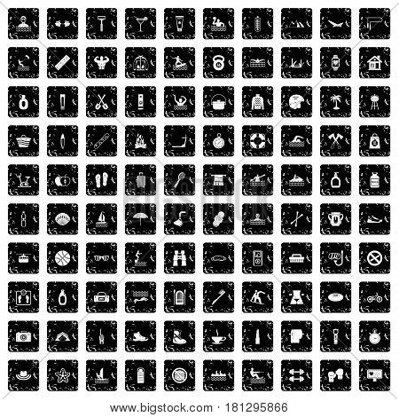 100 human health icons set in grunge style isolated vector illustration