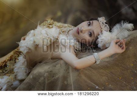 A beautiful girl wearing a beautiful princessprincess girl.