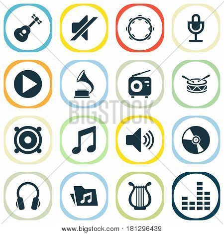 Audio Icons Set. Collection Of Tuner, Phonograph, Instrument And Other Elements. Also Includes Symbols Such As Loudspeaker, Fm, Mute.
