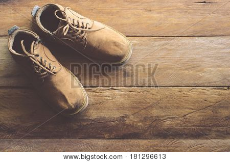 Leather shoes for men on the wooden floor