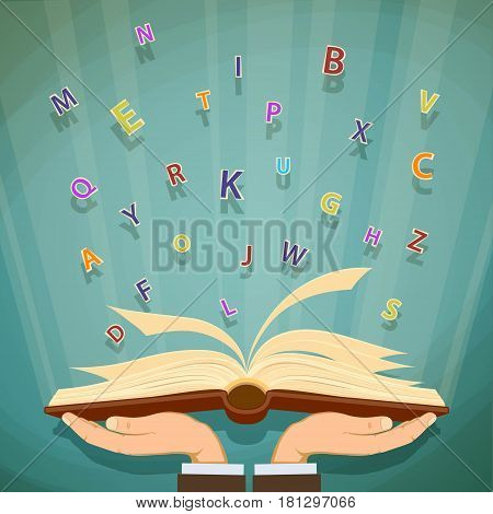 Man holding in his hands a book with flying away letters. Stock vector illustration.
