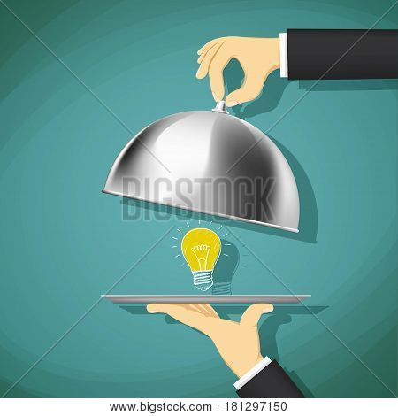 Waiter opens a dish with a light bulb. Stock Vector cartoon illustration.