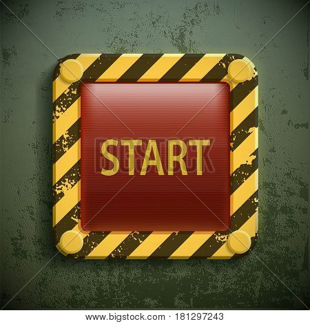 Switch button with the word Start. Stock vector realistic illustration.