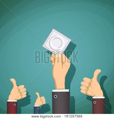 Man holding a condom in her hand. Prevention of sexually transmitted diseases. Stock Vector cartoon illustration.