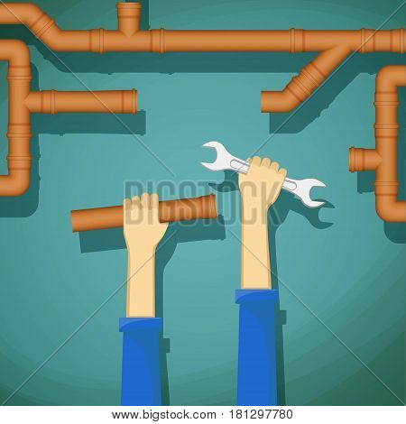 Plumber holding in his hand wrench and water pipe. Stock vector illustration.