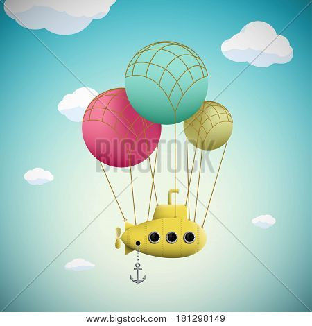 Submarine on the balloons flying in the sky. Stock vector fantasy illustration.