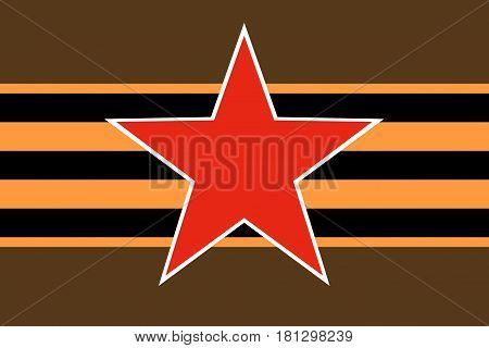 Red star of Soviet and Russian armed forces with horizontal St. George ribbon on dark green khaki protective camouflage background. Symbols may 9 victory day and Fatherland defender's day February 23.