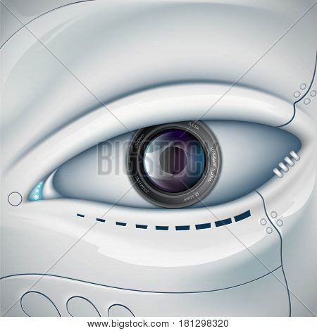 Robot face with the camera lens in the eye. Stock vector futuristic illustration.